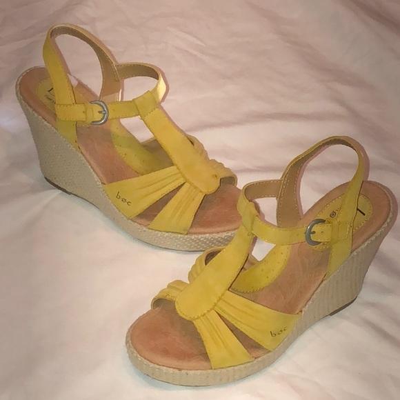 abfa5cb357 b.o.c. Shoes   Boc Born Concept Yellow Suede Strappy Wedges   Poshmark